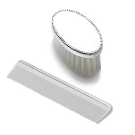 -,$ #2195 BOYS BEAD STERLING COMB AND BRUSH,