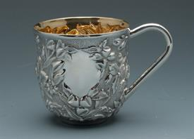 ",-ROSE, REPOUSSE STYLE BABY CUP. HOLD 4.5 FL OZ. 2.5""TALL MADE BY GALMER OF NEW YORK.ENGRAVABLE"