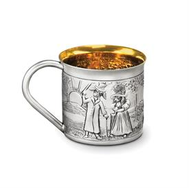 "-DOGS FAIRY TALE BABY CUP. HOLDS 4.5 FL OZ. 2.5"" TALL STERLING SILVER MADE BY GALMER OF NEW YORK"