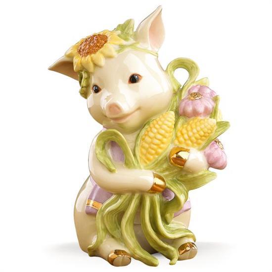 """Lenox SUNFLOWER PIG FIGURINE. 4"""" TALL. MSRP $67.00"""
