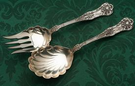 ",ALL SILVER SALAD SET STERLING SILVER 8.7"" LONG 7.65 TROY OUNCES MONOGRAMMED ""MEB"" NEW KINGS DOMINICK & HAFF"