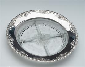 ",STERLING & CUT GLASS RELISH DISH 9.25""44"