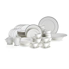 -64 PIECE SET. INCLUDES 12 DINNER, SALAD, SOUP, CUP, & SAUCER, & 1 EACH VEGETABLE BOWL, CHARGER, CREAMER & SUGAR. MSRP $1087.00