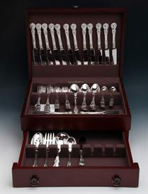 ,79PC. BOXED SET OLD MASTER TOWLE STERLING 12-4PC.LUN FR,12 PLACE SPOONS, 12 HH BUTTERS,2 TBSP, 1 PIERCE,1 CMF,1 GRV, 1HHM, 1SUG WAS $3,361