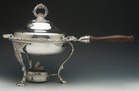 ".CHAFING DISH GRANDE BAROQUE SILVER PLATED 20"" LONG SPAN FROM HANDLE ACROSS 12"" HIGH"