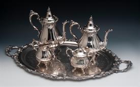 ,4 Piece Coffee & Tea Set with creamer & sugar bowl + Damaged Waiter/Tray Silver Plated Baroque/Grande Baroque by Wallace