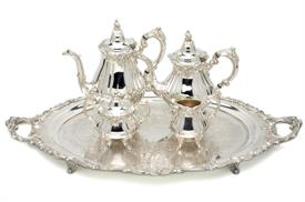 ",.4 PIECE TEA & COFFEE SET SILVER PLATED BAROQUE BY WALLACE COFFEE POT 10.5"" TALL"