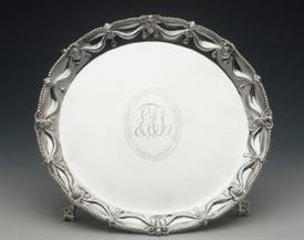 ",SALVER STERLING SILVER MADE IN PHILADELPHIA BY MEADOWS & CO. 30.95 TROY OUNCES 11"" DIAMETER 1.5"" TALL BALL FEET, RAMS HEADS, GARLAND, BEADE"
