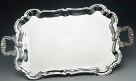 "_CHIPPENDALE TRAY SILVER PLATED, ENGRAVED CENTER DESIGN HEAVY CAST HANDLES/FEET 23 3/4"" LENGTH X 13 5/8"" WIDE."