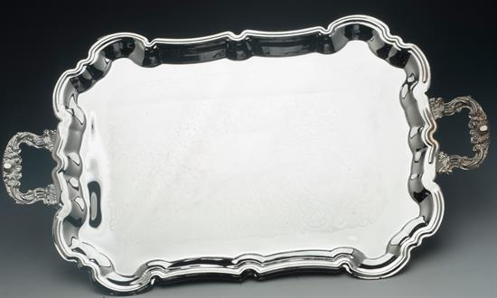 """International CHIPPENDALE TRAY SILVER PLATED, ENGRAVED CENTER DESIGN HEAVY CAST HANDLES/FEET 23 3/4"""" LENGTH X 13 5/8"""" WIDE."""
