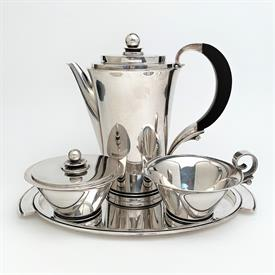 """Coffee Service Pyramid by Georg Jensen Sterling Silver Includes: Coffee Pot 7.5"""" , Creamer, Sugar Bowl with lid & Tray11"""" x 6.5"""""""