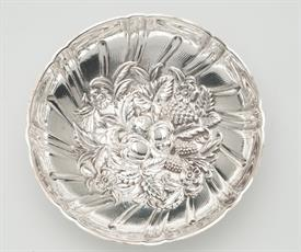 """,.#431 CANDY DISH 5.6oz 6"""" DIAMETER 1.5"""" TALL WITH 3 BALLED FEAT.   VERY ORNATE BOWL"""