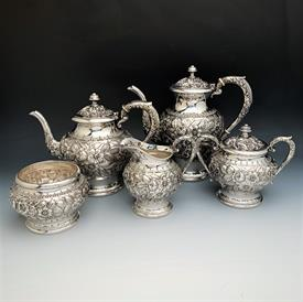 """,5 Pc. #474F Repousse Patterned Coffee & Tea Set Sterling Silver made by Kirk weighs 81.40 troy ounces Coffee 9.5"""",Tea,creamer,sugar,waste"""