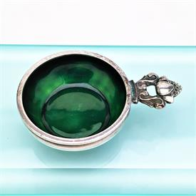 ",SALT CELLAR WITH GREEN ENAMEL. STYLE #62. 2.25"" X .25"". .60 TROY OUNCES"