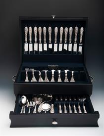 .79 Piece Set of Stieff Rose Sterling Silver Luncheon Size Stainless Steel Blades French Style Service for 12  Was $3,392