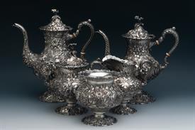 ,5 PIECE TEA SET, SERIES 1100, COFFEE POT, TEA POT, CREAM PITCHER, SUGAR BOWL AND WASTE BOWL.  STERLING SILVER