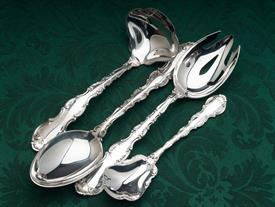,4 Piece Serving Piece Set Strasbourg by Gorham Sterling Silver Tbsp, Pierced Tbsp, Gravy Ladle & Sugar Spoon 8.85 troy ounces