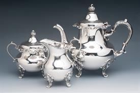 """,3 Piece Tea Set in Strasbourg by Gorham Sterling Silver 43.30 troy ounces Tea Pot 7.5"""" tall"""
