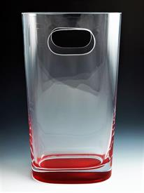 ",_12"" HANDLED BAG VASE. CLEAR WITH RED BASE. MSRP $75.00"