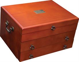 "-,$43CF BRISTOL GRANDE CHERRY FINISHED WOODEN VENEER SILVER CHEST BY REED & BARTON - HOLDS UP TO 200 PIECES 15"" X 11.5"" X 8.5"" - GORGEOUS!"