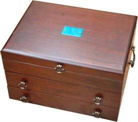 "-$43M BRISTOL GRANDE FLATWARE CHEST. HOLDS SERVICE FOR 12, UP TO 180 PIECES. 17""X11.5""X6.75"""