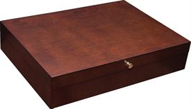 "-,$50MB SOMERSET FLATWARE CHEST BY REED & BARTON, MAHOGANY HOLDS UP TO 120 PIECES 15"" X 10.75"" X 3.25"""
