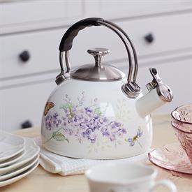 -WHITE ENAMEL TEA KETTLE.  HAND WASH ONLY. MSRP $86.00