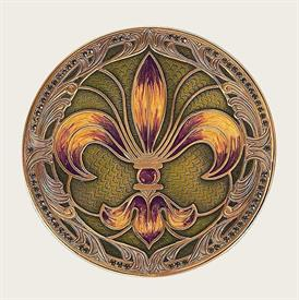 "_,8428/1 MARDI GRAS COASTER IN OLIVE, LIME, PURPLE & GOLD ENAMEL WITH GREEN SWAROVSKI CRYSTALS. 4.2"" WIDE. MADE IN THE USA"