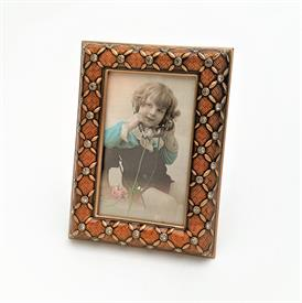 "_,7631/9 FRANCISCA 2.5X1.5"" FRAME IN RUSTIC ORANGE ENAMEL, MUSEUM GOLD PLATE & SWAROVSKI CRYSTALS. MADE IN THE USA."