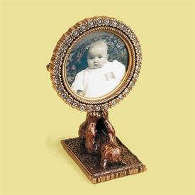 "_,7248/9 LA RUSSE 2"" CIRCLE BABY FRAME WITH ENAMELED BEAR. MADE IN THE USA. 3.1"" TALL"