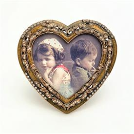 """_,7357/3 WHIMSEY 3X3.25"""" HEART FRAME IN YELLOW ENAMEL, MUSEUM GOLD PLATE & CLEAR SWAROVSKI CRYSTALS. MADE IN THE USA."""