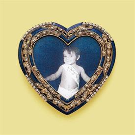 "_,7357/5 WHIMSEY 3X3.25"" HEART FRAME IN SAPPHIRE AND MUSEUM GOLD PLATE"