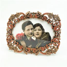 """_,7447/8 LOLA 5X3.5"""" 2-WAY FRAME IN MUSEUM GOLD PLATE WITH KASHMIR CORAL SWAROVSKI CRYSTALS. MADE IN THE USA."""