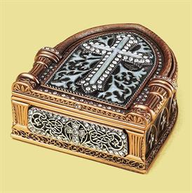 """_,7810/7 FOREVER YOURS MEMENTO BOX WITH PEARL ENAMELED CROSS & SWAROVSKI CRYSTAL ACCENTS. 5.25"""" LONG, 3"""" WIDE, 1.25"""" TALL. MADE IN THE USA"""