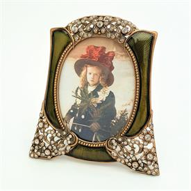 "_,7207/3 PRINCE ALBERT 3.5X2.75"" FRAME IN MUSEUM GOLD PLATE, OLIVE ENAMEL & SWAROVSKI CRYSTAL. MADE IN THE USA."